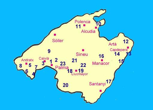 alle 24 Golfplätze auf Mallorca